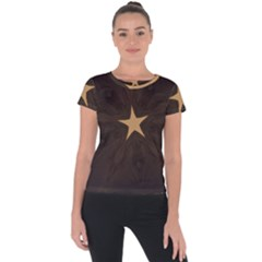 Rustic Elegant Brown Christmas Star Design Short Sleeve Sports Top  by yoursparklingshop