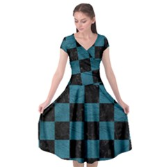 Square1 Black Marble & Teal Leather Cap Sleeve Wrap Front Dress by trendistuff