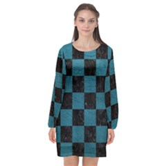Square1 Black Marble & Teal Leather Long Sleeve Chiffon Shift Dress  by trendistuff