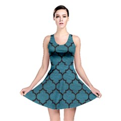 Tile1 Black Marble & Teal Leather Reversible Skater Dress by trendistuff