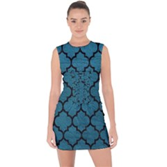 Tile1 Black Marble & Teal Leather Lace Up Front Bodycon Dress by trendistuff