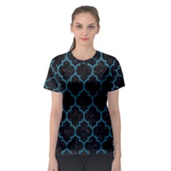 Tile1 Black Marble & Teal Leather (r) Women s Sport Mesh Tee by trendistuff