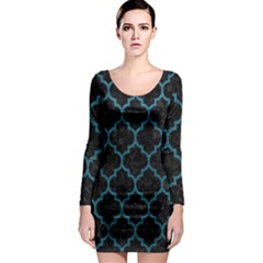 Tile1 Black Marble & Teal Leather (r) Long Sleeve Bodycon Dress by trendistuff