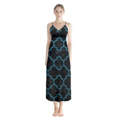 Tile1 Black Marble & Teal Leather (r) Button Up Chiffon Maxi Dress by trendistuff
