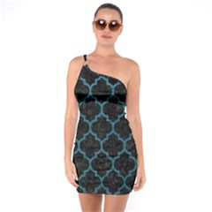 Tile1 Black Marble & Teal Leather (r) One Soulder Bodycon Dress by trendistuff