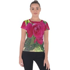 Romantic Red Rose Photography Short Sleeve Sports Top  by yoursparklingshop