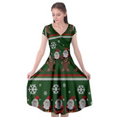 Ugly Christmas Sweater Cap Sleeve Wrap Front Dress by Valentinaart