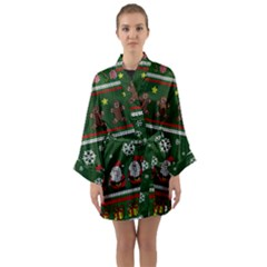 Ugly Christmas Sweater Long Sleeve Kimono Robe by Valentinaart