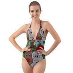 Santa And Rudolph Selfie  Halter Cut Out One Piece Swimsuit by Valentinaart