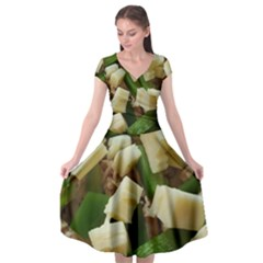 Cheese And Peppers Green Yellow Funny Design Cap Sleeve Wrap Front Dress
