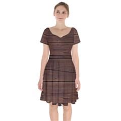 Rustic Dark Brown Wood Wooden Fence Background Elegant Short Sleeve Bardot Dress by yoursparklingshop