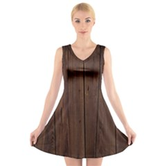Rustic Dark Brown Wood Wooden Fence Background Elegant Natural Country Style V Neck Sleeveless Skater Dress by yoursparklingshop