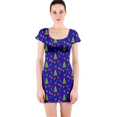 Christmas Pattern Short Sleeve Bodycon Dress by Valentinaart