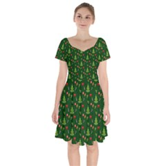 Christmas Pattern Short Sleeve Bardot Dress