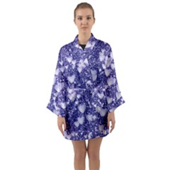 Hearts On Sparkling Glitter Print, Blue Long Sleeve Kimono Robe