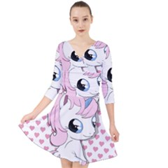 Baby Unicorn Quarter Sleeve Front Wrap Dress	 by Valentinaart