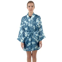 Hearts On Sparkling Glitter Print, Teal Long Sleeve Kimono Robe