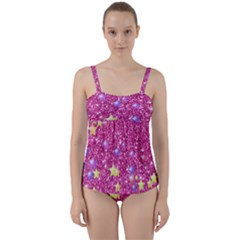 Stars On Sparkling Glitter Print,pink Twist Front Tankini Set by MoreColorsinLife