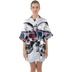 Cinema Skull Quarter Sleeve Kimono Robe by Valentinaart