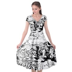 Graffiti Cap Sleeve Wrap Front Dress by Valentinaart
