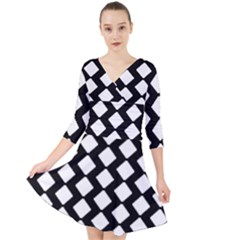 Abstract Tile Pattern Black White Triangle Plaid Quarter Sleeve Front Wrap Dress