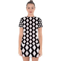 Abstract Tile Pattern Black White Triangle Plaid Drop Hem Mini Chiffon Dress by Alisyart