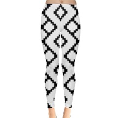 Abstract Tile Pattern Black White Triangle Plaid Chevron Leggings