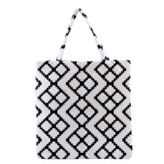 Abstract Tile Pattern Black White Triangle Plaid Chevron Grocery Tote Bag