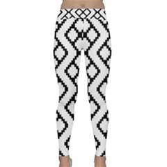 Abstract Tile Pattern Black White Triangle Plaid Chevron Classic Yoga Leggings by Alisyart