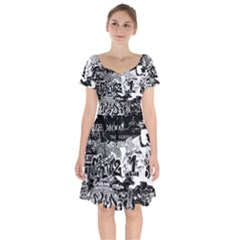 Graffiti Short Sleeve Bardot Dress by Valentinaart