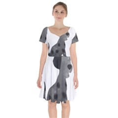 Dalmatian Inspired Silhouette Short Sleeve Bardot Dress by InspiredShadows
