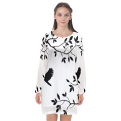Bird Tree Black Long Sleeve Chiffon Shift Dress  by Alisyart