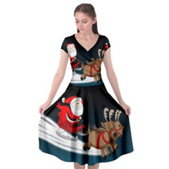 Christmas Reindeer Santa Claus Snow Star Blue Sky Cap Sleeve Wrap Front Dress