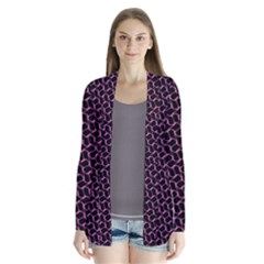Twisted Mesh Pattern Purple Black Drape Collar Cardigan by Alisyart