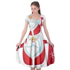 Christmas Santa Claus Cap Sleeve Wrap Front Dress by Alisyart
