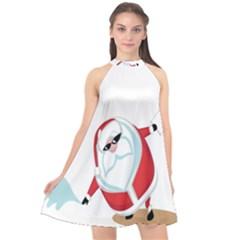 Christmas Santa Claus Snow Cool Sky Halter Neckline Chiffon Dress  by Alisyart