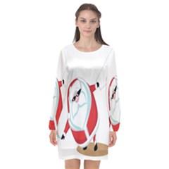 Christmas Santa Claus Snow Cool Sky Long Sleeve Chiffon Shift Dress  by Alisyart