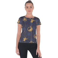 Christmas Angelsstar Yellow Blue Cool Short Sleeve Sports Top  by Alisyart