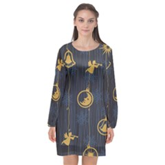 Christmas Angelsstar Yellow Blue Cool Long Sleeve Chiffon Shift Dress  by Alisyart
