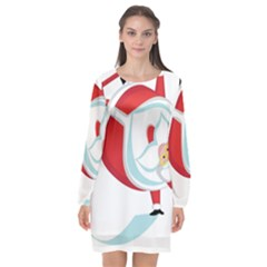 Christmas Santa Claus Snow Sky Playing Long Sleeve Chiffon Shift Dress