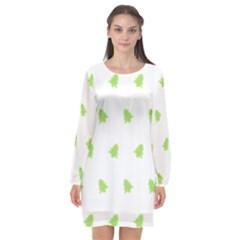 Christmas Tree Green Long Sleeve Chiffon Shift Dress  by Alisyart