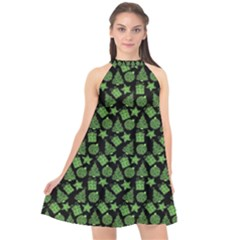 Christmas Pattern Gif Star Tree Happy Green Halter Neckline Chiffon Dress