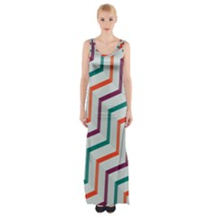 Line Color Rainbow Maxi Thigh Split Dress