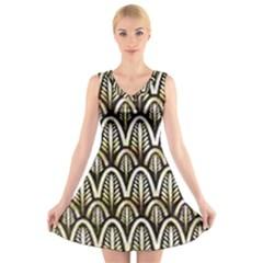 Art Deco V Neck Sleeveless Skater Dress by 8fugoso