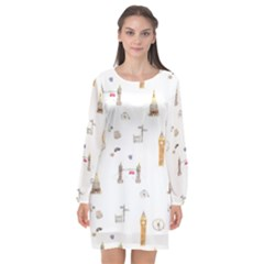 Graphics Tower City Town Long Sleeve Chiffon Shift Dress