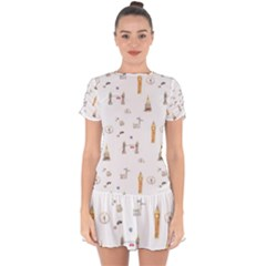 Graphics Tower City Town Drop Hem Mini Chiffon Dress by Alisyart