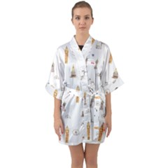 Graphics Tower City Town Quarter Sleeve Kimono Robe by Alisyart