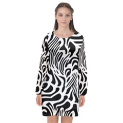 Psychedelic Zebra Pattern Black Long Sleeve Chiffon Shift Dress  by Alisyart