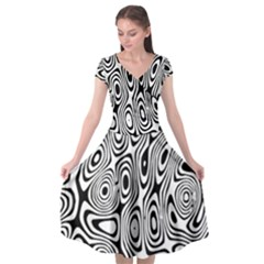 Psychedelic Zebra Black Circle Cap Sleeve Wrap Front Dress by Alisyart