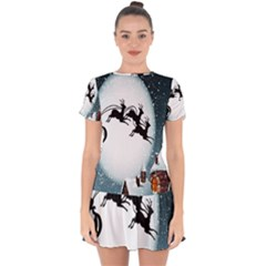 Santa Claus Christmas Snow Cool Night Moon Sky Drop Hem Mini Chiffon Dress